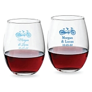 Tandem Bike Personalized Stemless Wine Glass (9 oz or 15 oz)