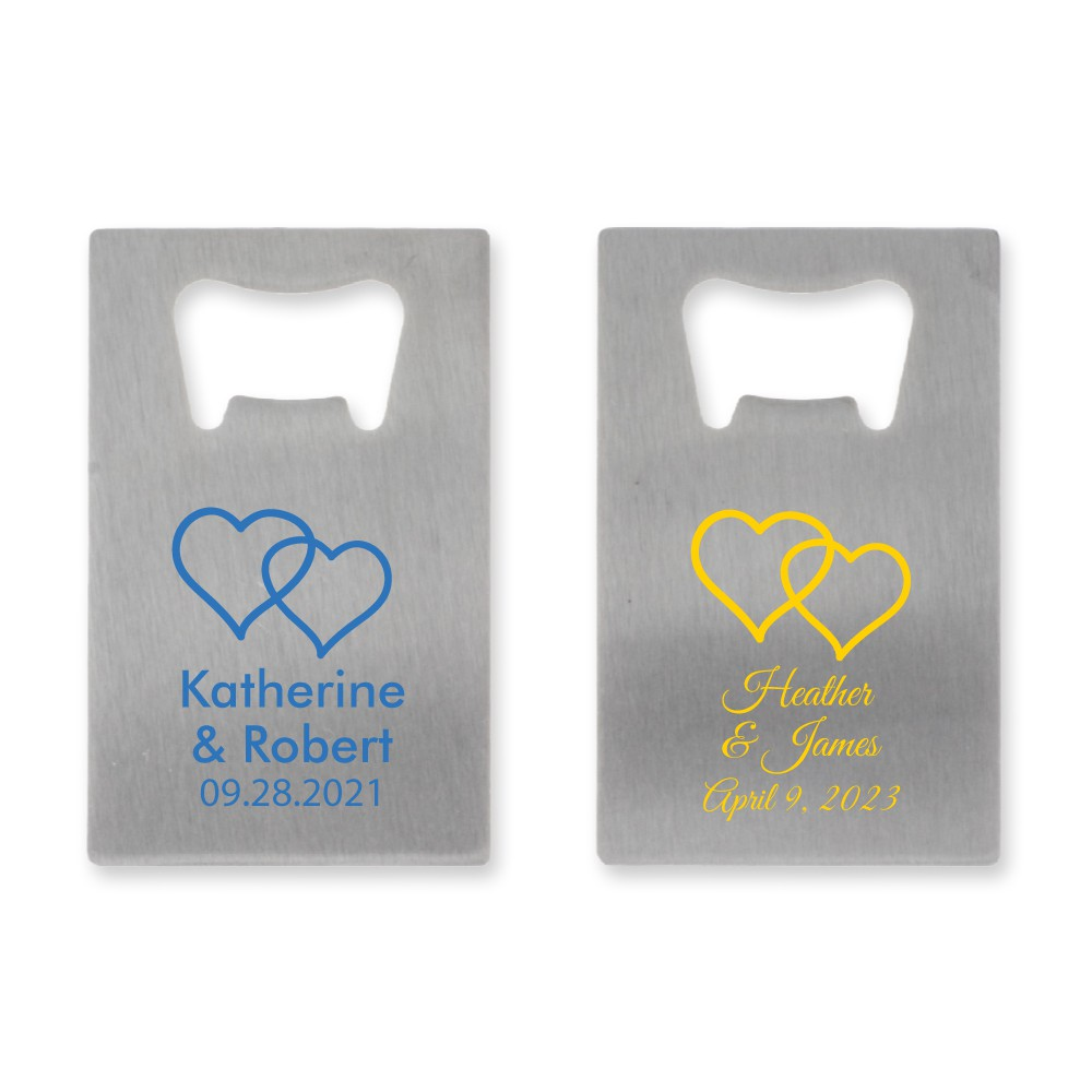 Personalized Credit Card Bottle Opener Wedding Favors Two Heats Design