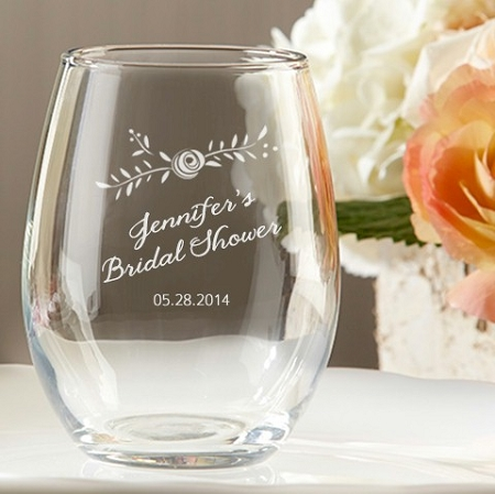customized rustic stemless wine glass wedding and bridal shower favors