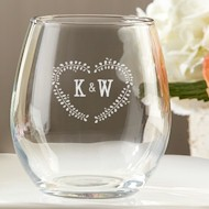 Stemless Wine Glass (9 oz) - Rustic Leaf Heart