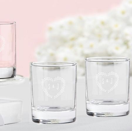 monogrammed shot glass wedding favors rustic heart design