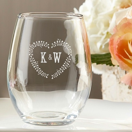 Monogrammed Stemless Wine Glass Wedding Favors - Rustic Leaf Hear ...
