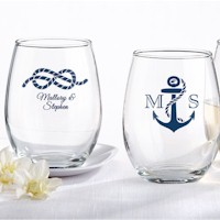 Nautical Stemless Wine Glasses (9 oz) - Personalized