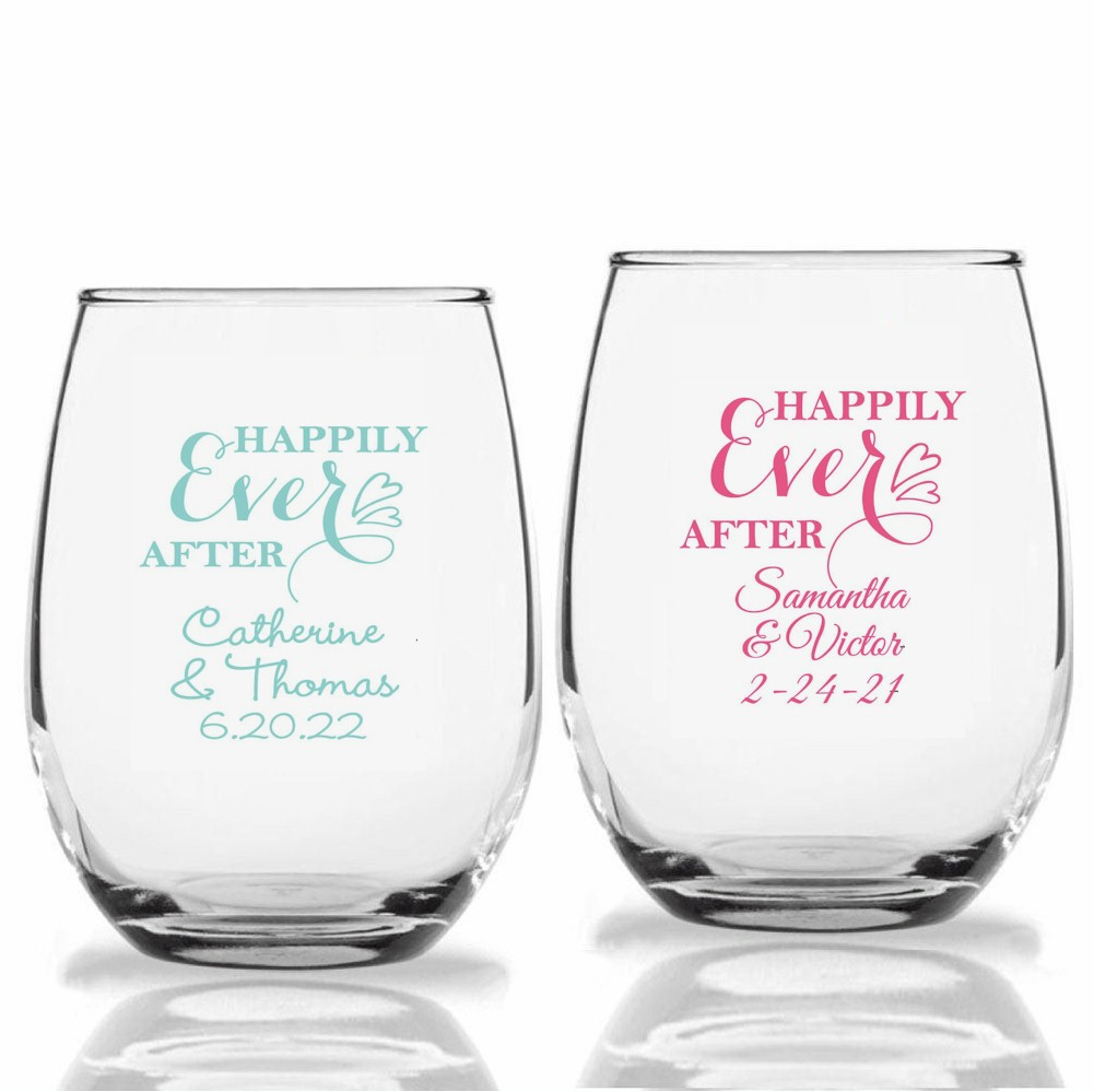 Personalized Stemless Wine Glass Wedding Reception Party Favors