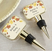 Fall Wedding Personalized Gold Wine Bottle Stopper