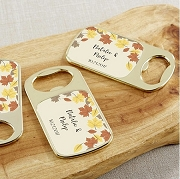 Personalized Gold Bottle Opener - Fall Leaves