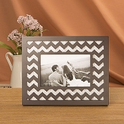 Laser Cut Wave Design Picture Frame with Silver Glitter