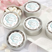 Seashell Beach Theme Silver Round Mint Tins (set of 12)