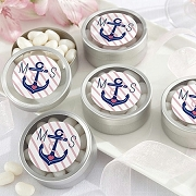 Nautical Anchor Monogram Silver Round Mint Tin (set of 12)