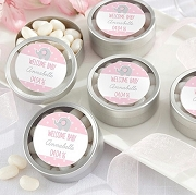 Little Peanut Silver Round Baby Shower Mint Tins (set of 12)