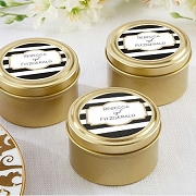 Black & White Stripes Gold Round Mint Tin (set of 12)