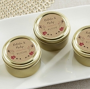 Fall Wedding Personalized Gold Round Mint Tin (set of 12)