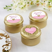 Sweet Heart Personalized Gold Mint Tin Shower Favors (set of 12)