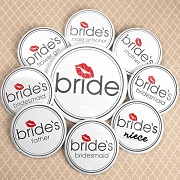 Bride's Bridal Party Buttons (Set of 12, plus 1 Free)