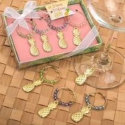 Tropical Gold Pineapple Wine Charms (Set of 4)