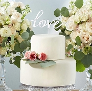 Silver Mirror Love Cake Topper