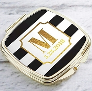 Personalized Gold Compact Mirror - Classic Wedding