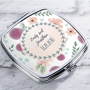 Personalized Compact Mirror Silver or Gold - Bridal Floral