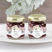 Strawberry Jam Jar Wedding Favors - Floral Design (Set of 12)