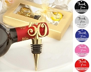 50th Gold Wine Bottle Stopper with Personalized Thank You Tag