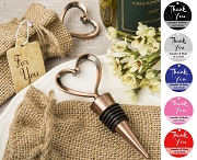 Copper Plated Heart Shaped Wine Stopper with Personalized Thank You Tag