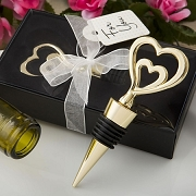 Gold Double Heart Metal Bottle Stopper