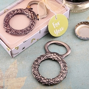 Floral Wreath Bronze Metal Bottle Opener