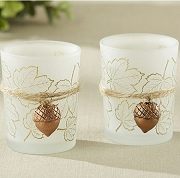Leaf Print Tea Light Holder with Copper Acorn Charm (set of 4)