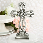 Large Pewter Cross Statue with Antique Accent
