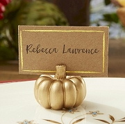 Gold Pumpkin Place Card Holder (set of 6)