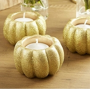 Gold Glitter Pumpkin Votive Candle Holder (Set of 2)