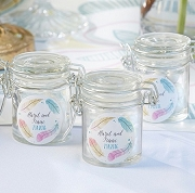 Feather Design Personalized Glass Jar Favors (set of 12)