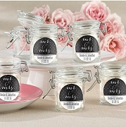 Mr. & Mrs. Personalized Glass Jar Wedding Favors (set of 12)