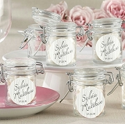 Rustic Wood Grain Design Glass Jar Favors (set of 12)