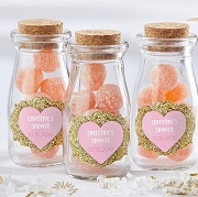 Sweet Heart Personalized Milk Jar Favors (set of 12)