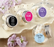 Mini Glass Candy Jar Favors- Wedding and Bridal (Set of 12)