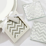 Shimmer and Shine Silver Chevron Coasters (set of 2)