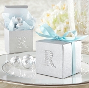 Jeweled Monogram Silver Favor Box (set of 24)