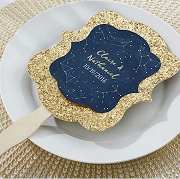 Personalized Gold Glitter Hand Fan - Under the Stars