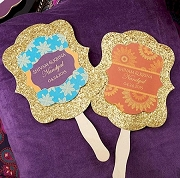 Indian Jewel Personalized Gold Glitter Hand Fan (set of 12)