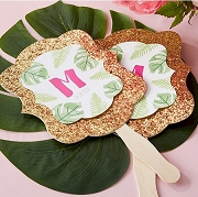 Personalized Gold Glitter Hand Fan - Pineapples and Palms