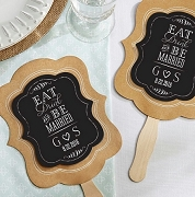 Eat, Drink & Be Married Personalized Kraft Wedding Fans (set of 12)