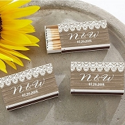 Matchbox Favors (Set of 50) - Country Themed Lace and Woodgrain Sticker