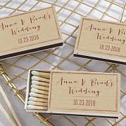 Personalized Vineyard Wedding Matchboxes - Woodgrain (Set of 50)