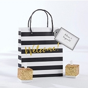 Classic Black And White Striped Welcome Bags (set of 12)