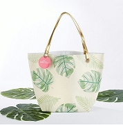 Pretty Palms Canvas Tote Bag With Gold Handles