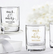 Mr. & Mrs. Personalized Shot Glass Favors (3.5 oz)
