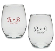 Monogram Heart Personalized Stemless Wine Glass (9 or 15 oz)