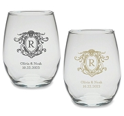 Monogram Crest Personalized Stemless Wine Glass (9 or 15 oz)