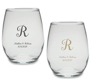 Monogram Script Personalized Stemless Wine Glass (9 or 15 oz)